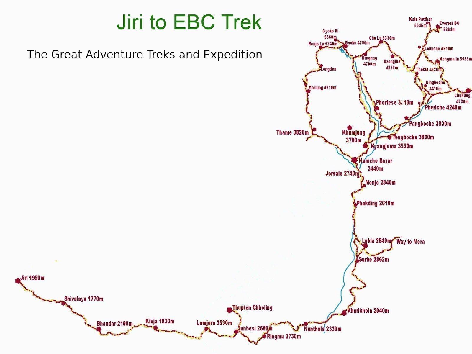 Classic Jiri to Everest Base Camp Trek Map